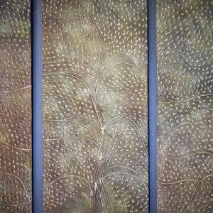 Kolmiosainen Elämänpuu- teos 120 x 135 cm Sebastian Isokangas