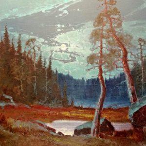 Kuutamo 60 x 90 cm öljy kankaalle Lauri Salonen