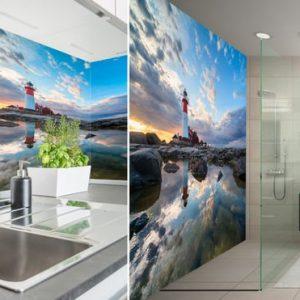 Kuvalliset keittiön välitilan- ja kylpyhuoneen seinälevyt omasta kuvasta